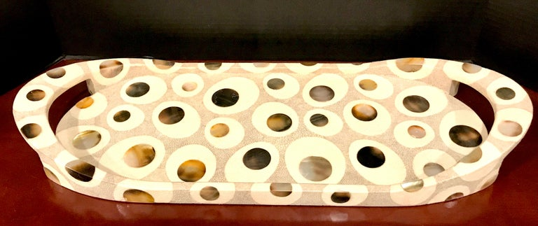 R&Y Augousti Shagreen and Mother of Pearl Oval Tray For Sale 1