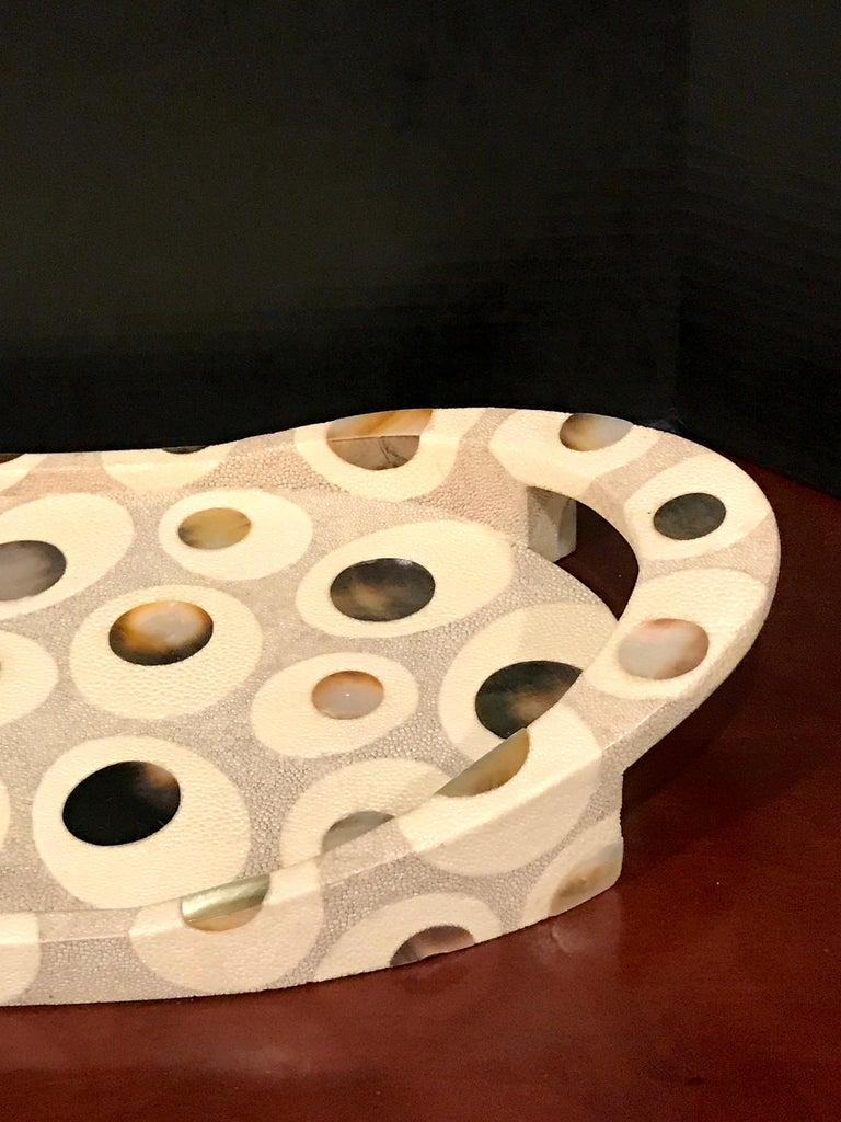 R&Y Augousti Shagreen and Mother of Pearl Oval Tray For Sale 3