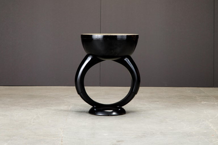 R&Y Augousti Shagreen Ring Side Table with Hidden Compartment and Tray, Signed For Sale 4