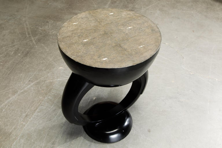 R&Y Augousti Shagreen Ring Side Table with Hidden Compartment and Tray, Signed For Sale 7