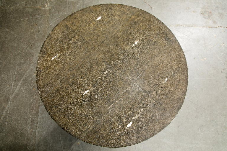 R&Y Augousti Shagreen Ring Side Table with Hidden Compartment and Tray, Signed For Sale 8