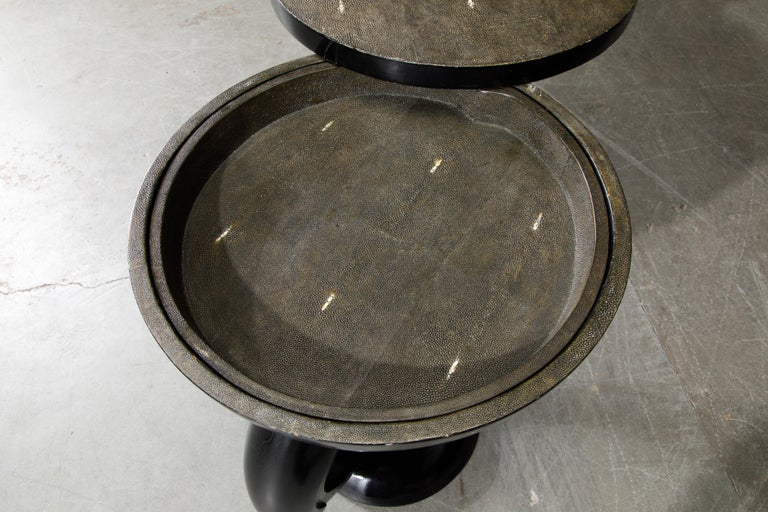R&Y Augousti Shagreen Ring Side Table with Hidden Compartment and Tray, Signed For Sale 10