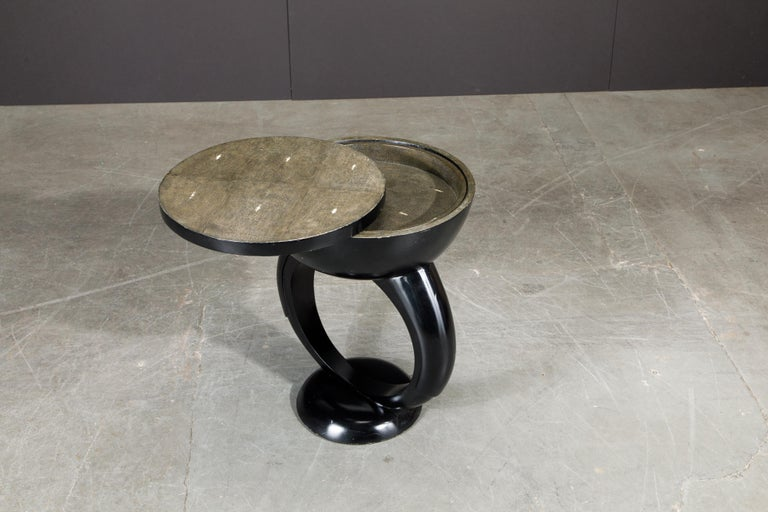 Modern R&Y Augousti Shagreen Ring Side Table with Hidden Compartment and Tray, Signed For Sale