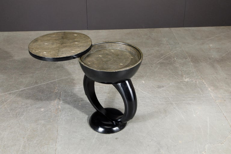 French R&Y Augousti Shagreen Ring Side Table with Hidden Compartment and Tray, Signed For Sale
