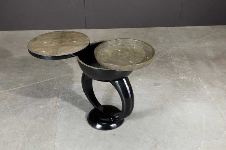 R&Y Augousti Shagreen Ring Side Table with Hidden Compartment and Tray, Signed In Good Condition For Sale In Los Angeles, CA