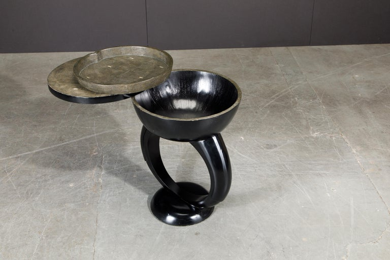 Contemporary R&Y Augousti Shagreen Ring Side Table with Hidden Compartment and Tray, Signed For Sale