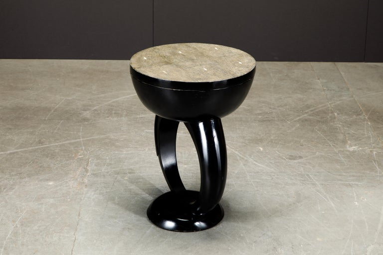 R&Y Augousti Shagreen Ring Side Table with Hidden Compartment and Tray, Signed For Sale 2