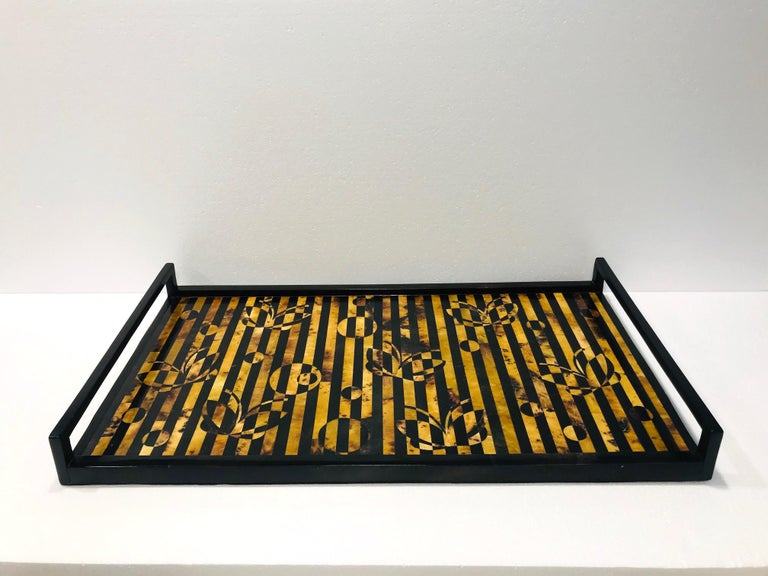 Organic Modern R&Y Augousti Vintage Mosaic Tray in Black and Tortoise Pen-Shell, circa 2000 For Sale