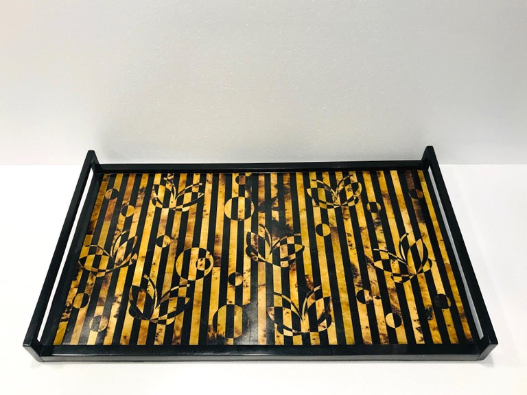 Hand-Crafted R&Y Augousti Vintage Mosaic Tray in Black and Tortoise Pen-Shell, circa 2000 For Sale