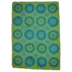 """Rya Carpet in Green and Blue Design, """"Flower Power"""" Swedish Designer, 1960-1970"""