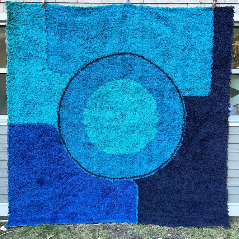 Rya Dania Taepper Abstract Bullseye in Blues Square For Sale 3