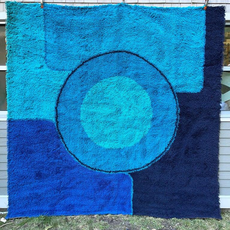 Rya Dania Taepper Abstract Bullseye in Blues Square For Sale 4