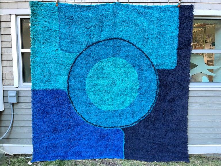Rya Dania Taepper Abstract Bullseye in Blues Square For Sale 5