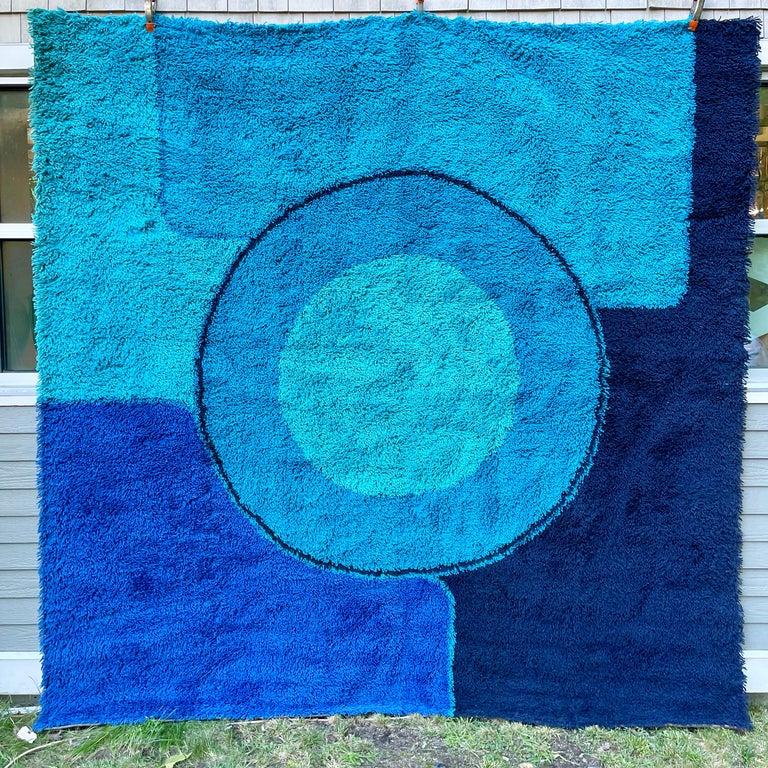 Rya Dania Taepper Abstract Bullseye in Blues Square For Sale 6