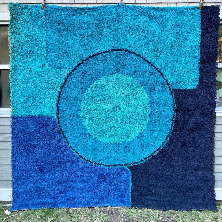 Rya Dania Taepper Abstract Bullseye in Blues Square For Sale 7