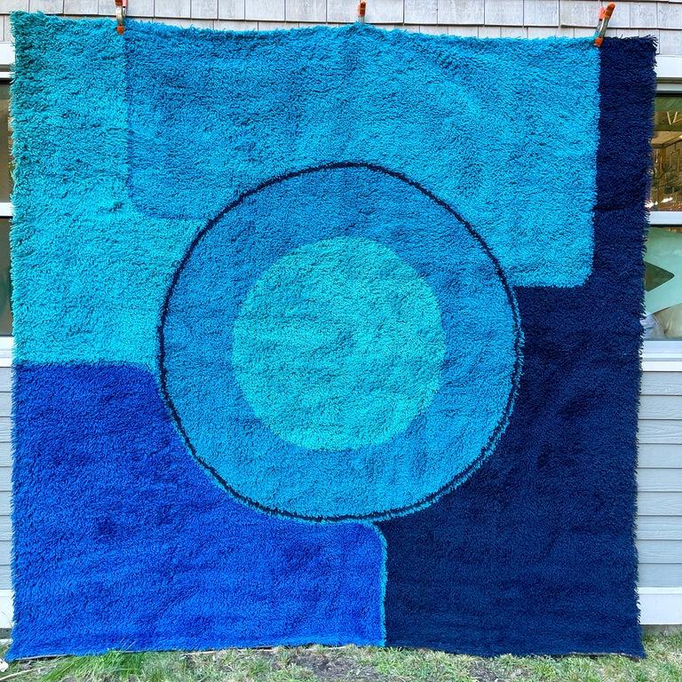 Rya Dania Taepper Abstract Bullseye in Blues Square For Sale 8