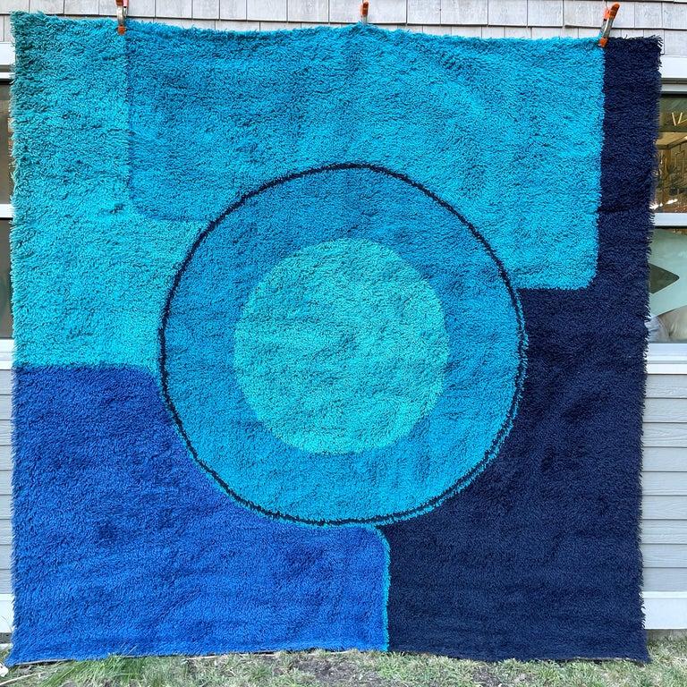 Rya Dania Taepper Abstract Bullseye in Blues Square For Sale 9