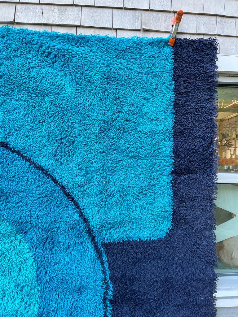 Rya Dania Taepper Abstract Bullseye in Blues Square For Sale 13