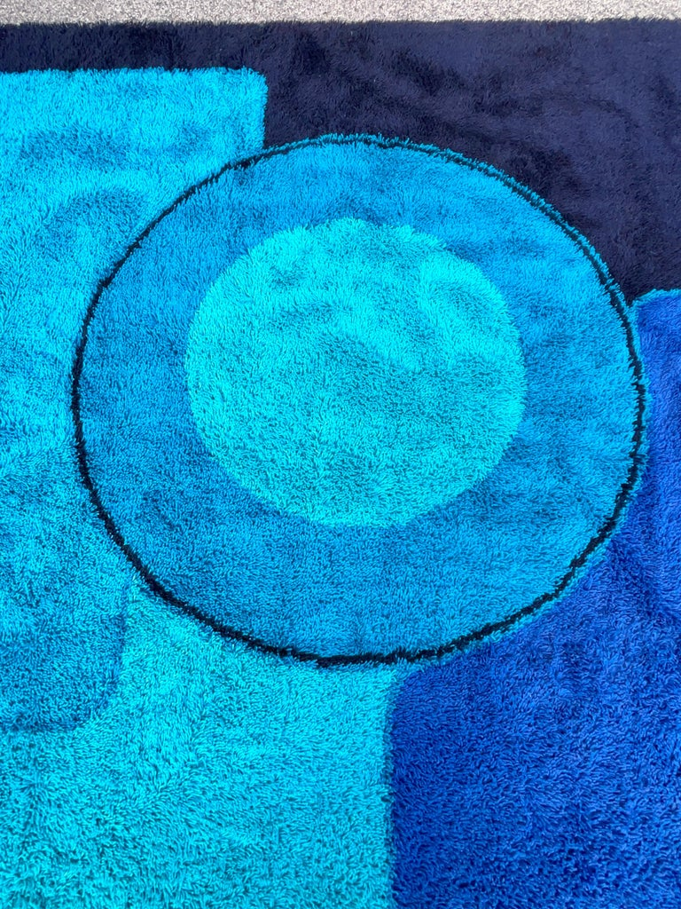 Mid-20th Century Rya Dania Taepper Abstract Bullseye in Blues Square For Sale