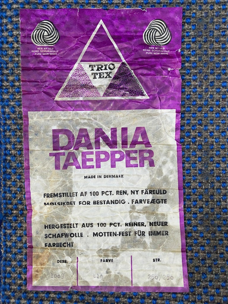 Wool Rya Dania Taepper Abstract Bullseye in Blues Square For Sale