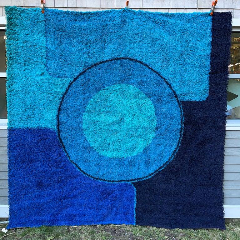 Rya Dania Taepper Abstract Bullseye in Blues Square For Sale 1