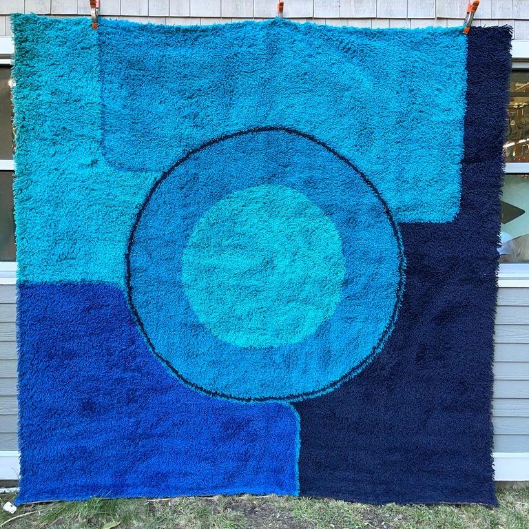 Rya Dania Taepper Abstract Bullseye in Blues Square For Sale 2