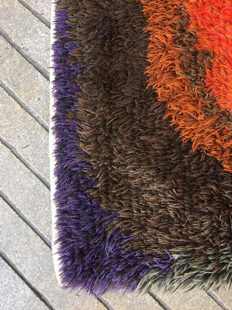 Mid-Century Modern Rya Wool Square Shag Rug For Sale
