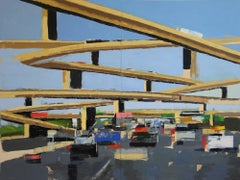Freeway No. 13 (diptych) / color abstract city oil cars painting