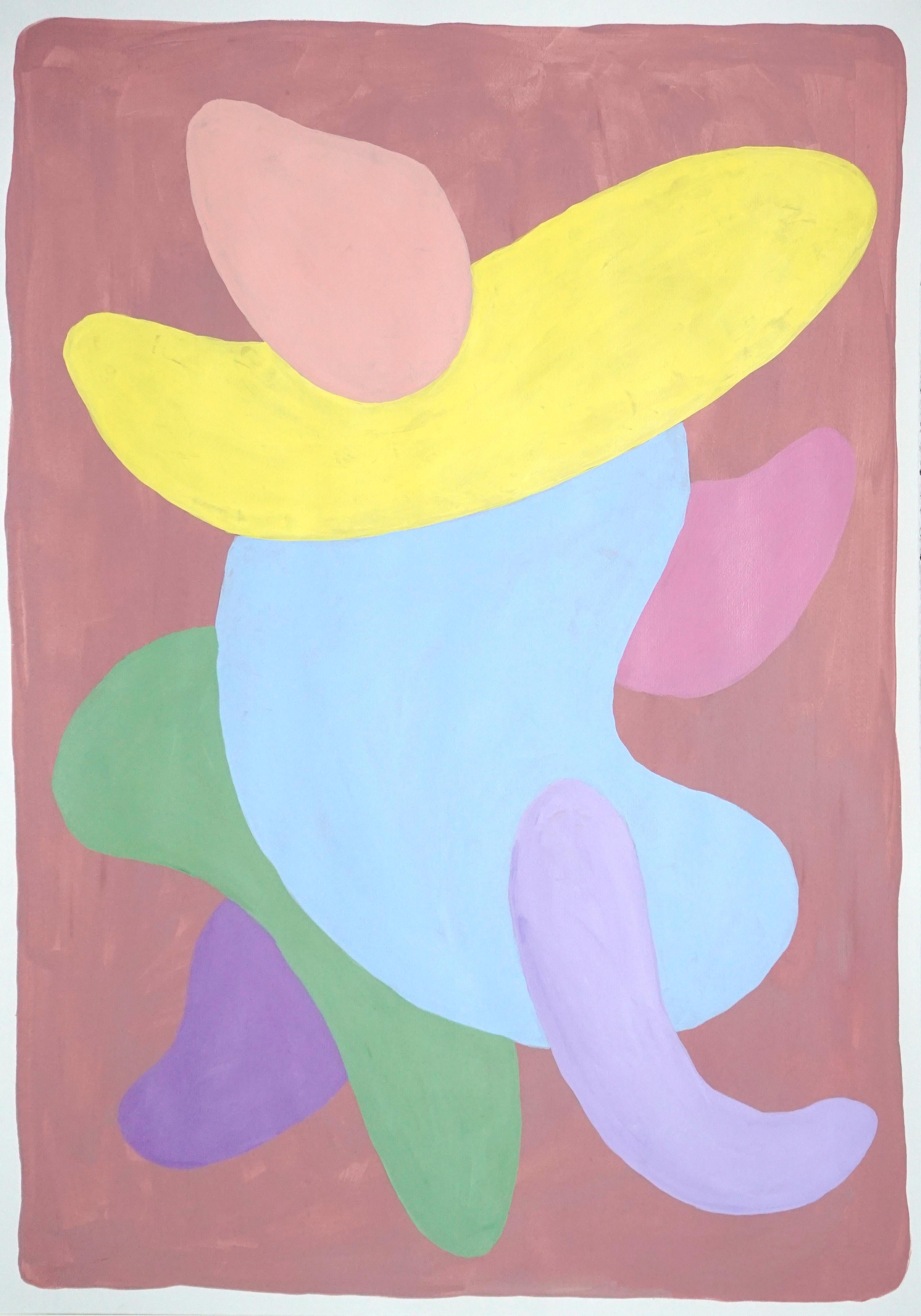 Abstract Figure Painting of Pastel Art Deco Tones, Pink, Purple and Mauve, 2021