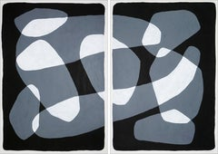 Black and White Floating Rock Ovals Diptych, Minimal Organic Shapes Painting
