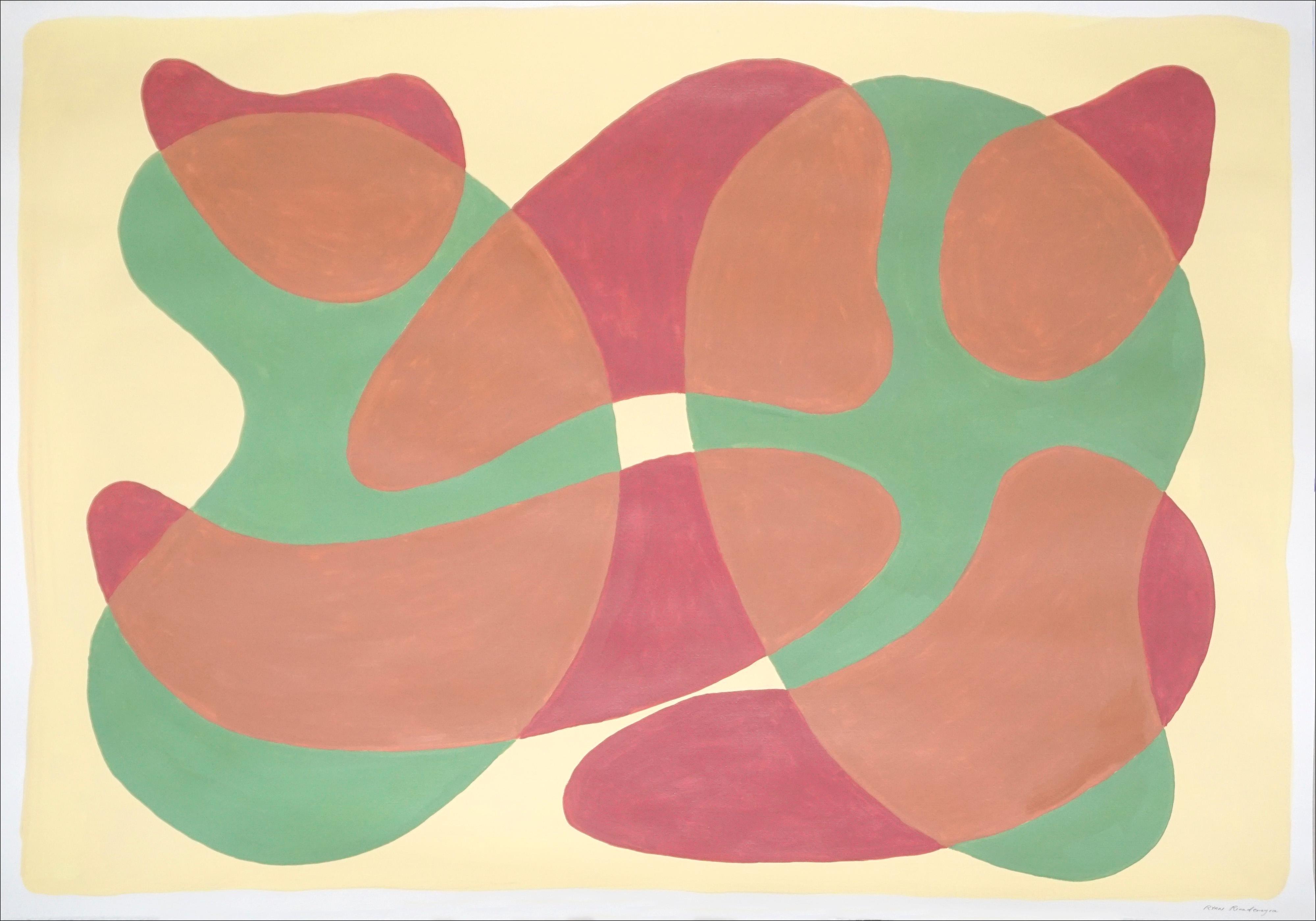 Large Painting of Mid-Century Translucent Shapes, Warm Tones Layers on Vanilla