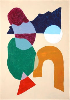 Modern Native Shapes, Naif Painting Geometry Layers of Patterns in Warm Tones