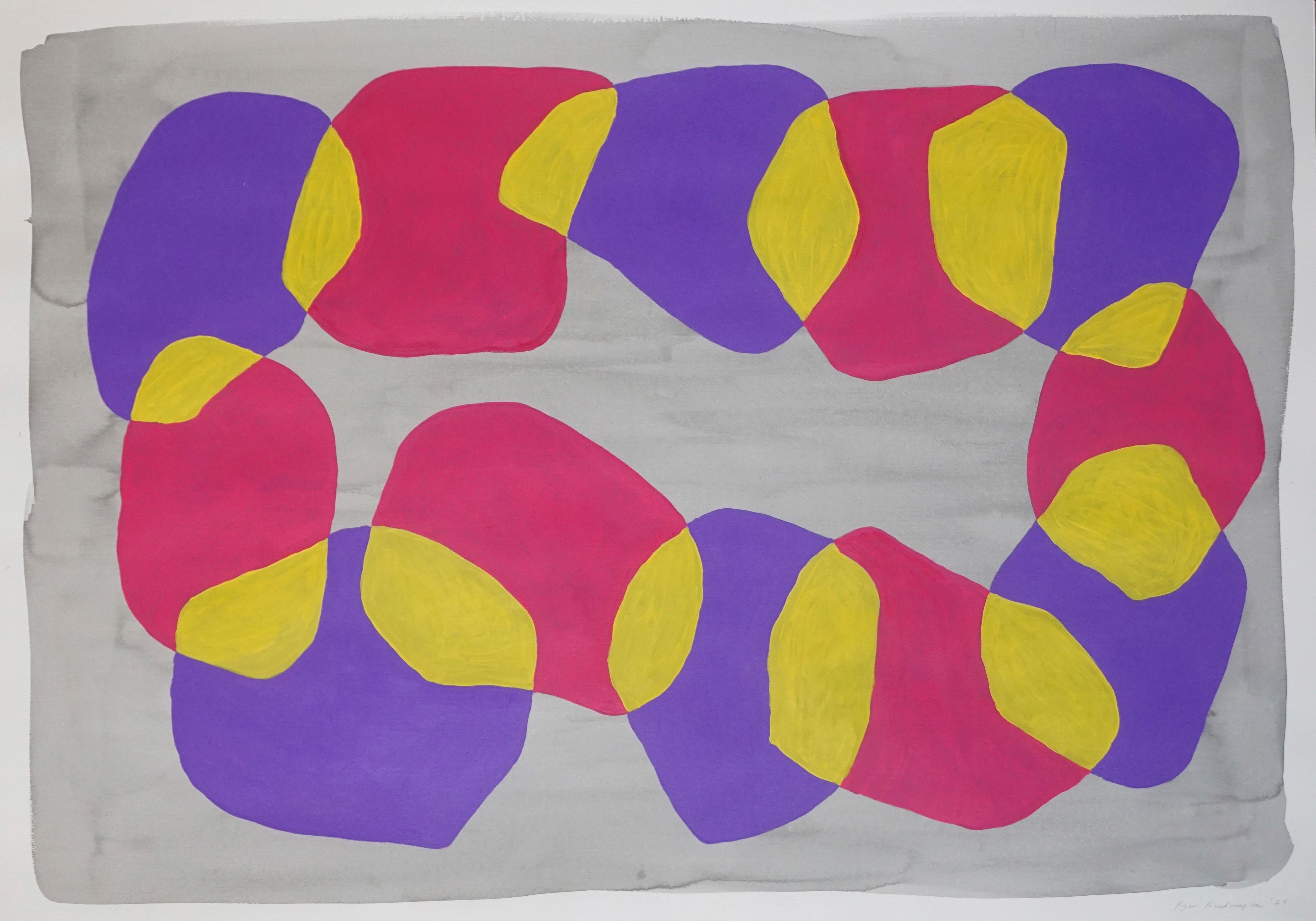 Modern Painting of Vivid Colored Necklace, Abstract Geometric, Pink and Yellow