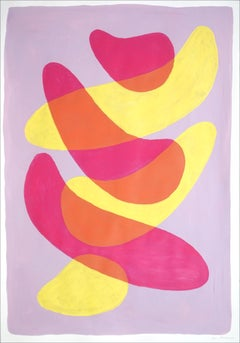 Overlapping Strokes on Mauve, Vivid Lime and Pink Minimal Gestures Painting,