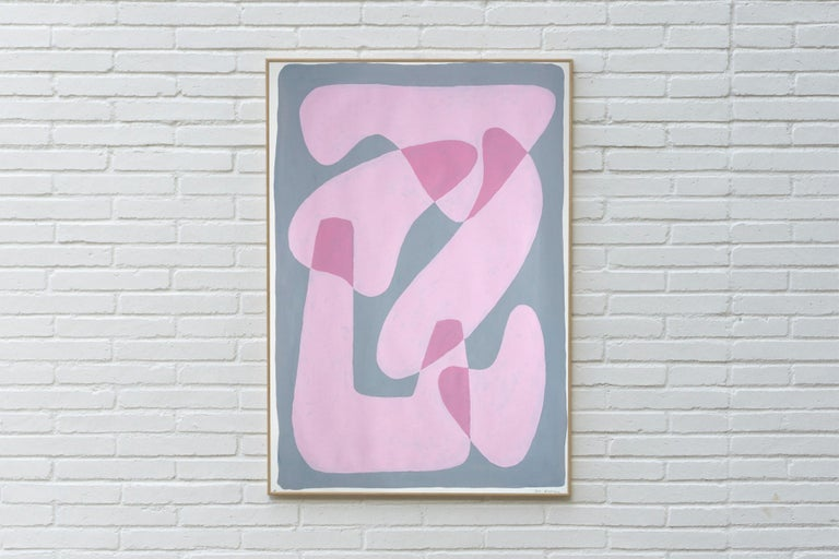 Pastel Pink Figures, Abstract Body Shapes on Gray, Avant-Garde Style on Paper - Painting by Ryan Rivadeneyra