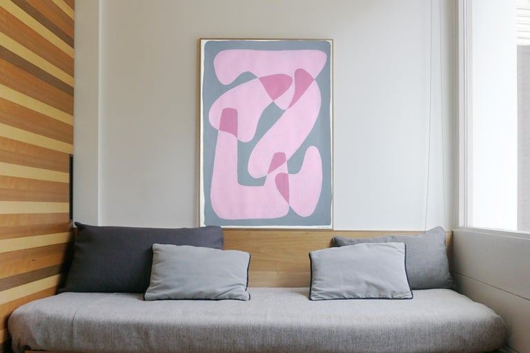 Pastel Pink Figures, Abstract Body Shapes on Gray, Avant-Garde Style on Paper - Abstract Geometric Painting by Ryan Rivadeneyra