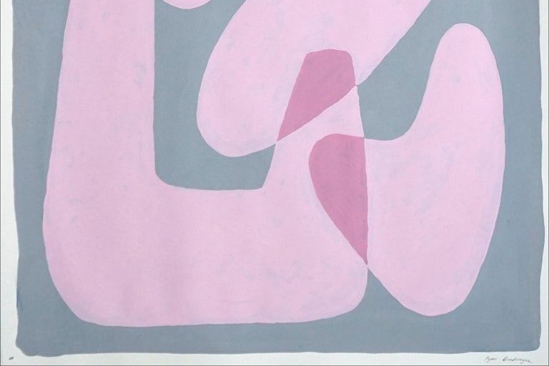 Pastel Pink Figures, Abstract Body Shapes on Gray, Avant-Garde Style on Paper For Sale 1
