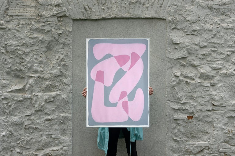Pastel Pink Figures, Abstract Body Shapes on Gray, Avant-Garde Style on Paper For Sale 3