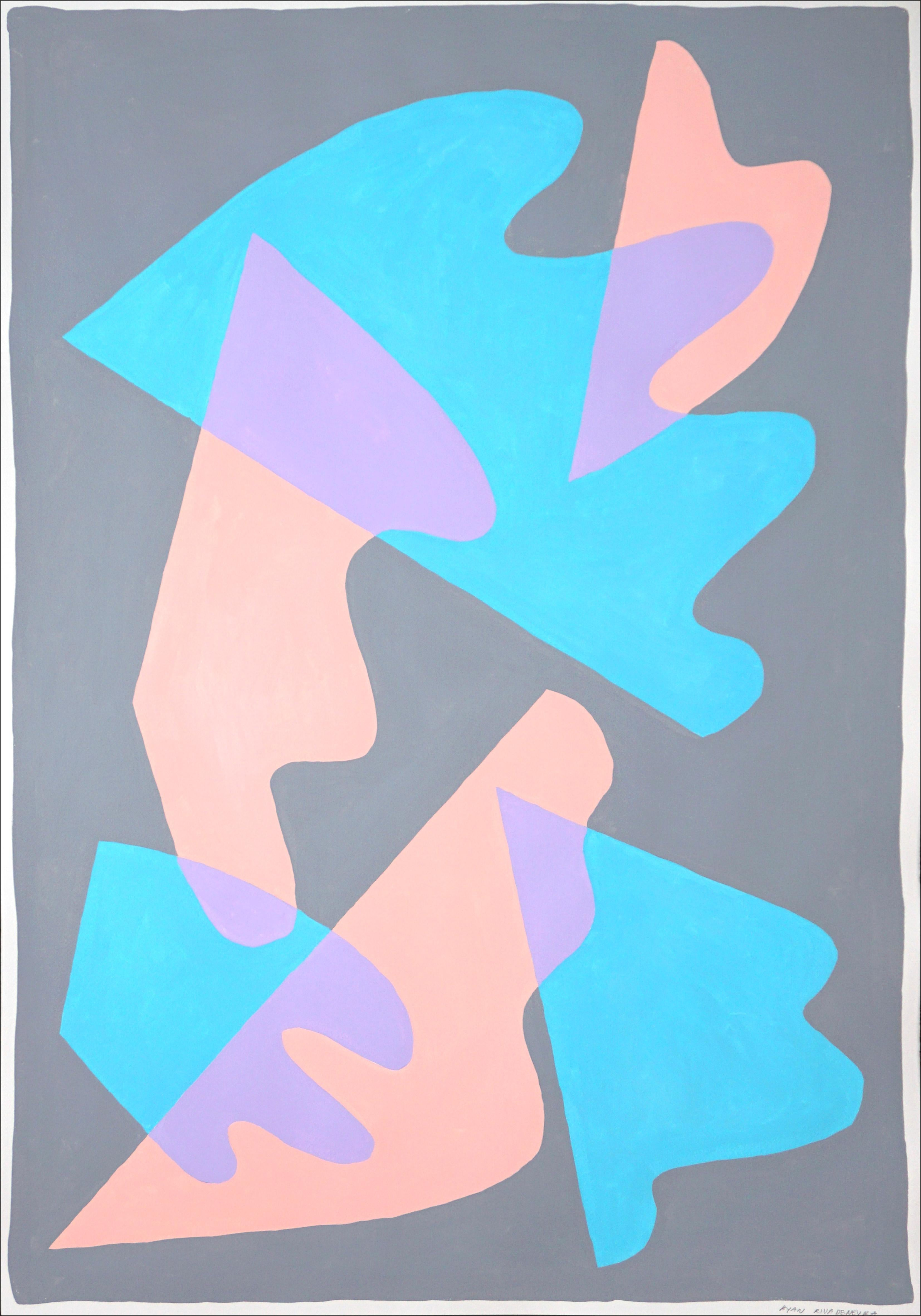 Pastel Wings and Shapes, Mid-Century Shapes, Memphis Style, Abstract Turquoise
