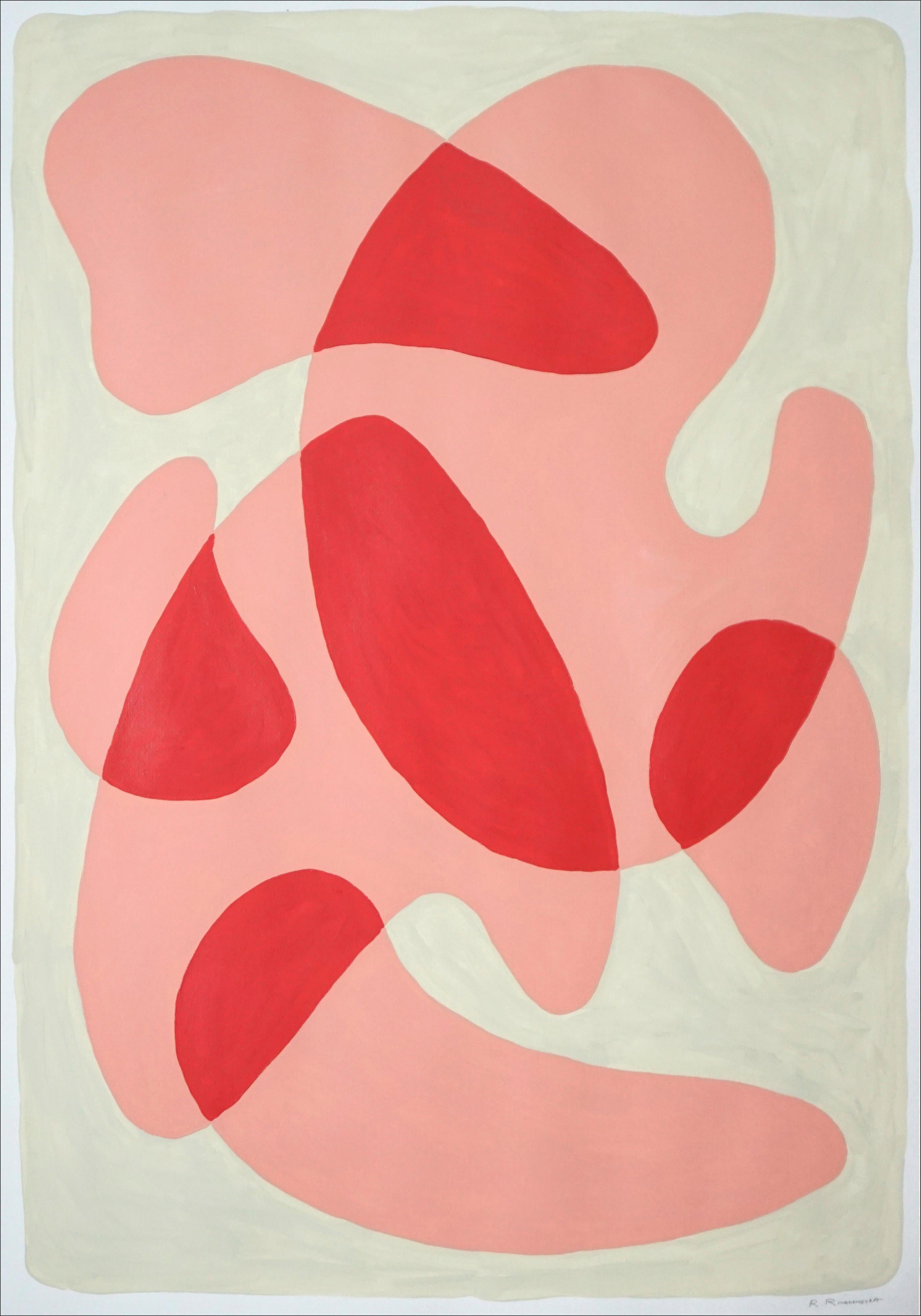 Rounded Simple Shapes in Warm Tones, Pastel Palette, Mid-Century Painting, 2021