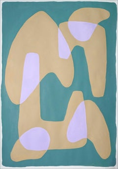 Tan Arches on Green, Abstract Geometric Painting, Mid Century Modern Shapes, '21