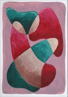 Thick Curvy Shapes, Warm Tones Palette, Mid-Century Shapes, Green & Red Painting