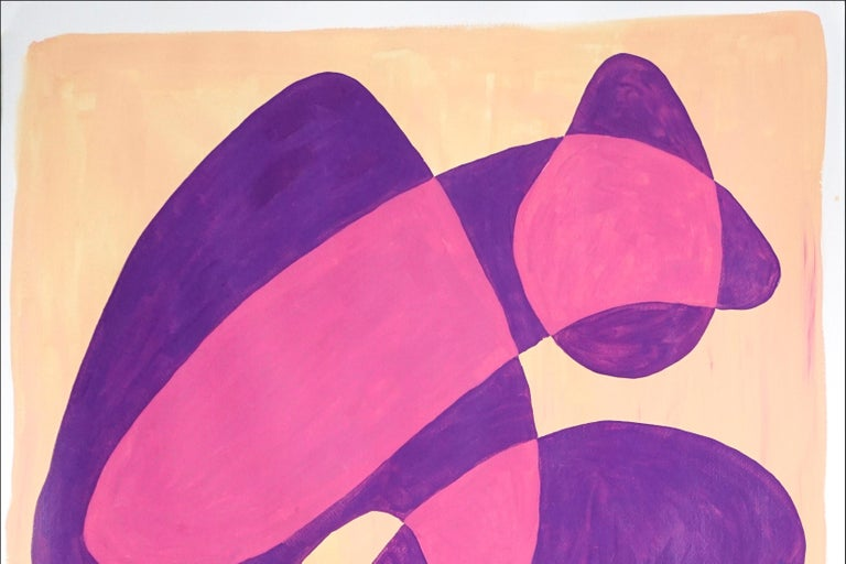 Translucent Purple Bubbles, Mid-Century Shapes in Warm Tones, Overlapping Layers - Art Deco Painting by Ryan Rivadeneyra