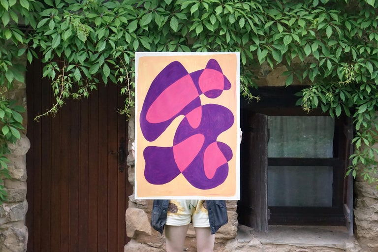 Translucent Purple Bubbles, Mid-Century Shapes in Warm Tones, Overlapping Layers For Sale 1