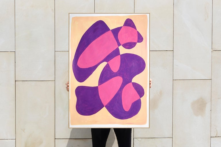 Translucent Purple Bubbles, Mid-Century Shapes in Warm Tones, Overlapping Layers For Sale 2