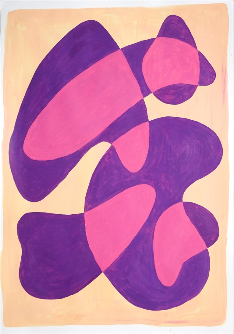 Ryan Rivadeneyra Figurative Painting - Translucent Purple Bubbles, Mid-Century Shapes in Warm Tones, Overlapping Layers