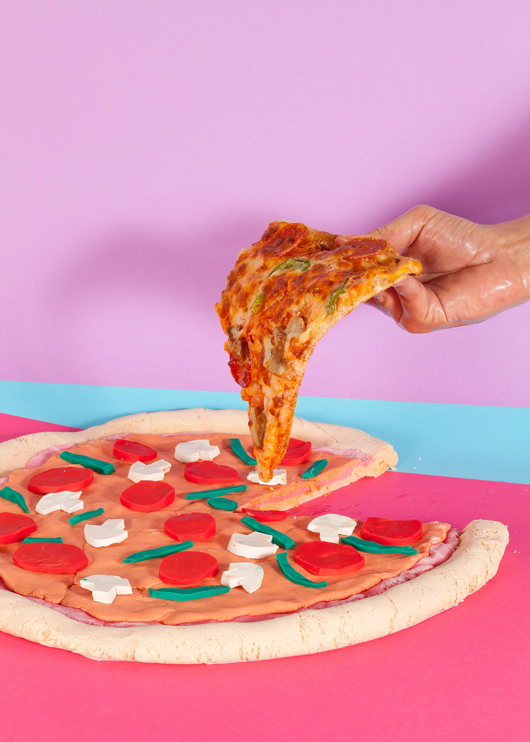 Still Life Pizza, Lively Foodie Scene, Contemporary Photography, Flashy Colors