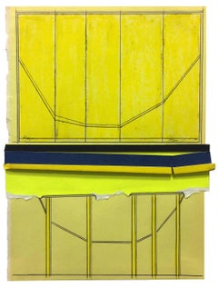"""All-Division 1"", yellow and black collaged architectural wall relief"