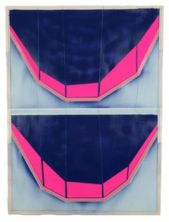 """In Retreat"", pink, black, and blue collaged architectural wall relief"