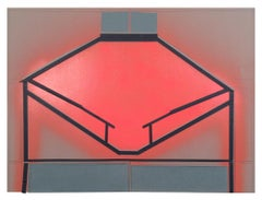 """""""Talk in the Houses"""", coral, green, and black collaged architectural wall relief"""